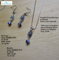 Sodalite drop bauble; earrings and chain sold separately.