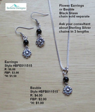 Flower with black glass bead Bauble & Earrings