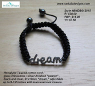 """Dream"" Bracelet - Hemalyke, waxes cotton cord, glass rhinestone, silver-finished ""pewter"", black & clear - 31x10mm ""dream"", adjustable up to 9-1/2 inches with macrame knot closure"