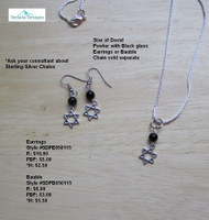 Star of David Pewter Earrings; bauble & chain sold separately