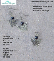 Brass with black glass butterfly bauble; earrings & chain sold separately