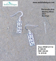 Rectangle drop - sterling silver - 22x7mm earrings