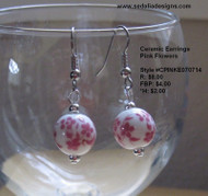 Ceramic Pink Flowers Earrings
