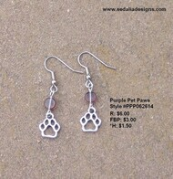 Pet Paws & purple bead Earrings