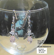 Baby Pink crystal angel earrings