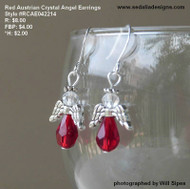 Red Austrian crystal Angel earrings
