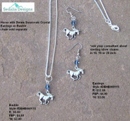 Denim Blue Swarovski crystal adorns these running horse earrings
