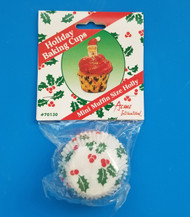 "HOLLY-CHRISTMAS CANDY CUP #5--1-1/4"" Base, 3/4"""" Wall--PKG/75"