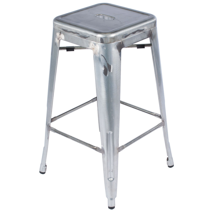 Metal Bar Stool Silver Industrial Distressed