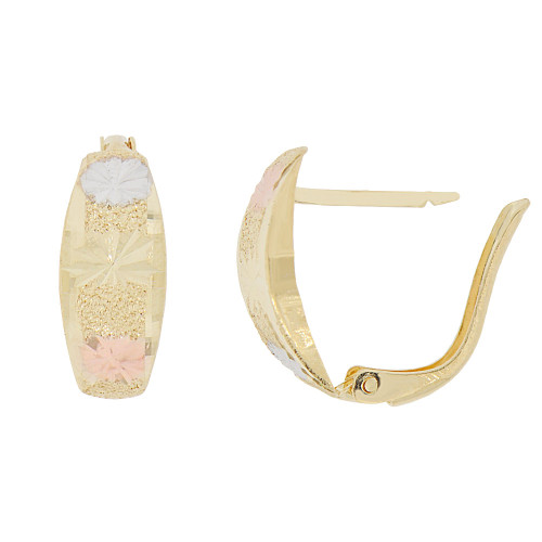 14k Yellow Gold Rose & White Rhodium, 7mm Wide Huggies Style Earring Snap Post Clasps (E070-026)