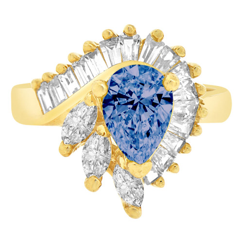 14k Yellow Gold, Fancy Estate Style Cocktail Ring Created Color Pear CZ Synthetic Sep Birthstones (R218-409)