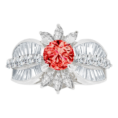 14k Gold White Rhodium, Fancy Estate Cocktail Ring Created CZ Synthetic Jul Birthstones (R220-457)