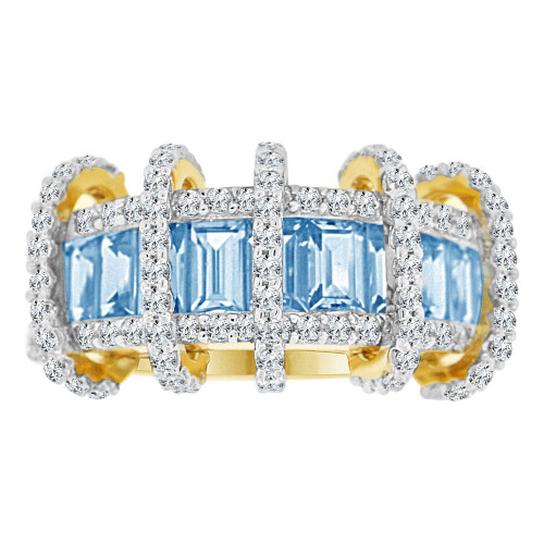 14k Yellow Gold, Fancy Modern Ring Created Baguette CZ Synthetic Mar Birthstones (R221-103)