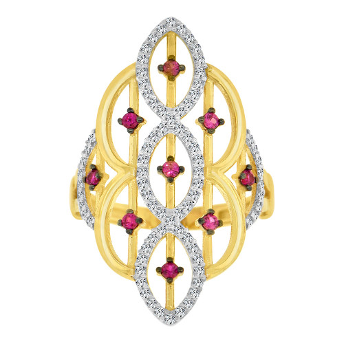 14k Yellow Gold White Rhodium, Lady Bold Fancy Ring Created Red & White Cubic Zirconia Crystals (R226-055)