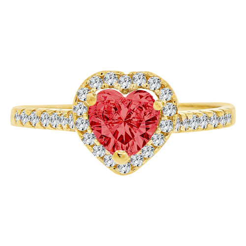 14k Yellow Gold, Heart Design Promise Engagement Ring Created Red Center CZ Crystals (R226-907)