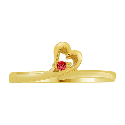 14k Yellow Gold, Dainty Thin Abstract Heart Ring Created Red Color CZ Crystals (R227-012)