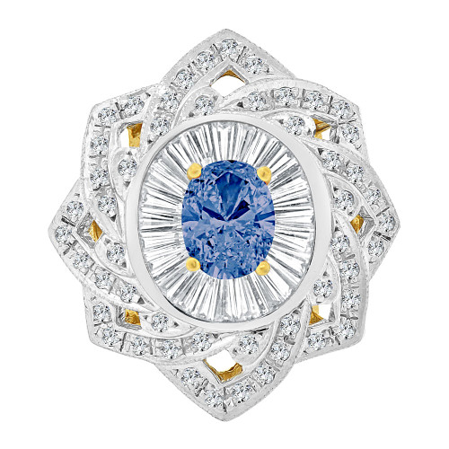 14k Yellow Gold White Rhodium, Fancy Estate Style Large Ring Created Oval Shape Blue CZ Crystals (R227-809)