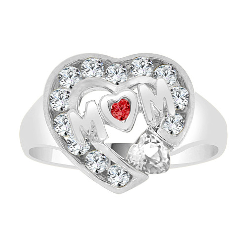 14k Gold White Rhodium, Heart Shape Mom Mother Ring Created CZ Crystals (R229-454)