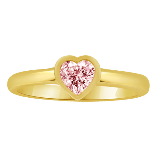 14k Yellow Gold, Mini Size Ring Pink Created CZ Heart Children or Adult Pinky (R253-210)