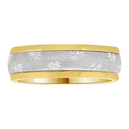 14k Yellow and White Gold, Fancy Spinning Band Ring 6mm Width (R037-000)