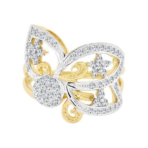 14k Yellow Gold, Lady's Dressy Fancy Elegant Abstract Design Ring Cubic Zirconia (R101-003)