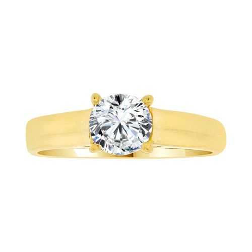 14k Yellow Gold, Simple Solitaire Engagement Ring Round CZ Crystal 0.75ct (R101-017)