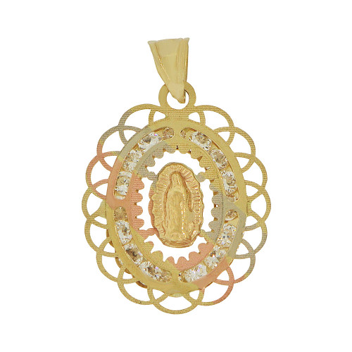 Fine gold virgin mother mary pendant charm 14k givemegold 14k tricolor gold religious virgin mary pendant religious charm sparkly created cz crystals p055 aloadofball Image collections