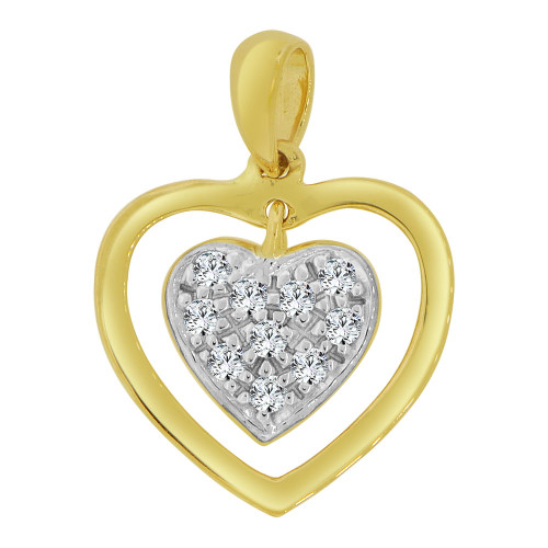 14k Yellow Gold White Rhodium,  Mini Size Double Open Heart Pendant Charm Created CZ Crystals (P063-023)