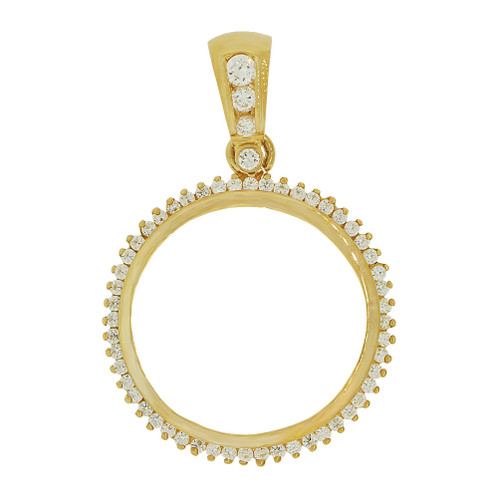 14k gold coin bezel charm fits 27mm coin p065 001givemegold image 1 aloadofball Choice Image