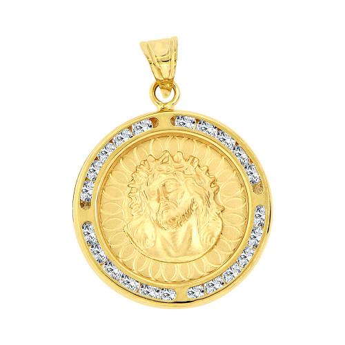 Fine gold pendant charm medal for men 14k givemegold 14k yellow gold christ jesus religious pendant charm created cz crystals p067 022 aloadofball Gallery