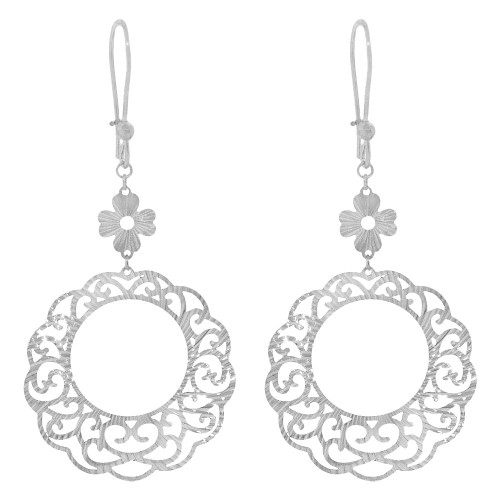 14k Gold White Rhodium, Fancy Extra Sparkly Brilliant Cut Drop Earring (E023-078)