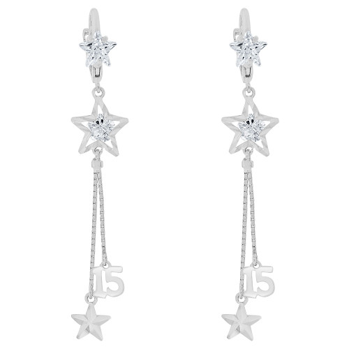 14k Gold White Rhodium Quinceanera 15 Anos Dangling Drop Earring Created CZ Crystals E028