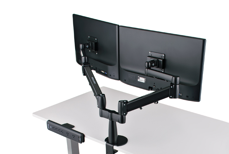 Dual Monitor Arm Uplift Desk