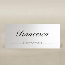 white place cards with silver foil
