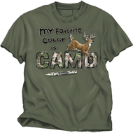 Buck Wear Favorite Color Camo Moss Tee Large