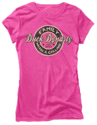 Womens Duck Dynasty S/S Fitted T-Shirt Family Call Pink Large