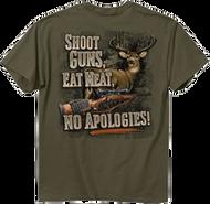 Buck Wear No Apoligies Olive Short Sleeve T-Shirt 2X