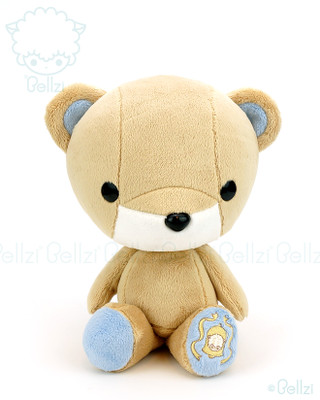 Bellzi® Cute Brown with Blue Bear Stuffed Animal Plush Toy - Teddi