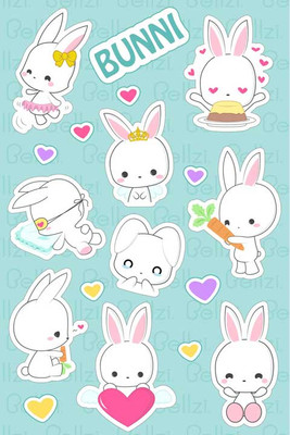 Bellzi® Cute Bunni the White Bunny Rabbit Vinyl Sticker