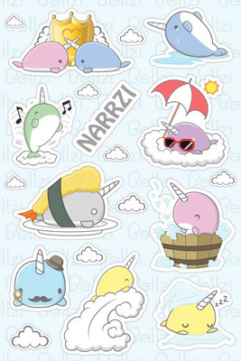 Bellzi® Cute Narrzi the Narwhal Vinyl Sticker
