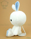 Bunny Rabbit Stuffed Animal Plush Toy - White with Dusty Blue