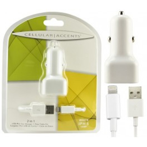 2 in 1 usb mini car charger + data cable for iphone 4 white