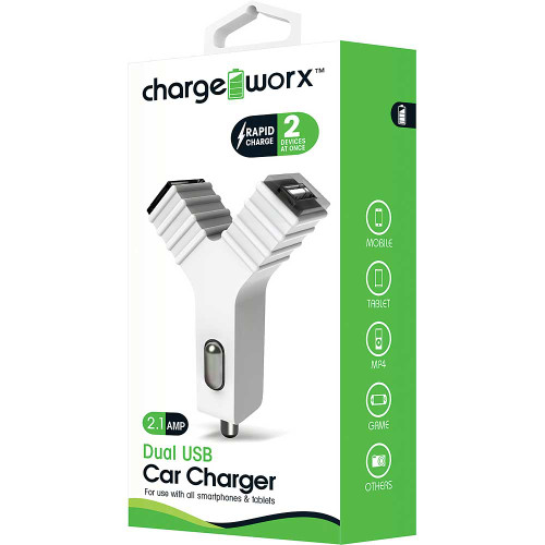 "ChargeWorx Plug in dual usb car charger ""Y"" shape 2.1A white"