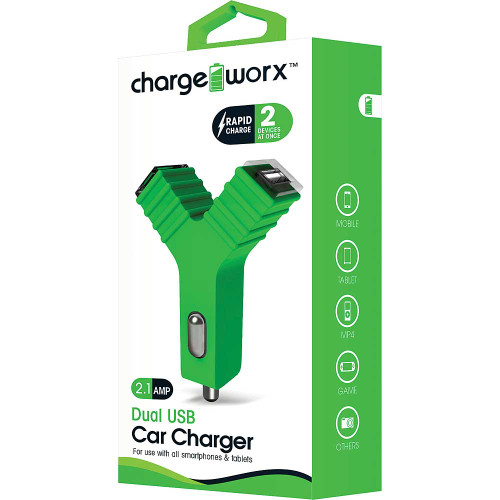 "ChargeWorx Plug in dual usb car charger ""Y"" shape 2.1A green"