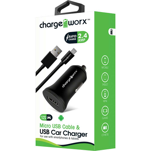 ChargeWorx Plug in usb car charger + cable micro-usb 2.4A black