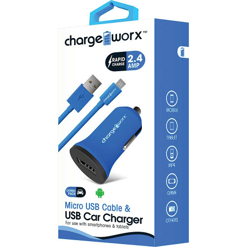ChargeWorx Plug in usb car charger + cable micro-usb 2.4A blue