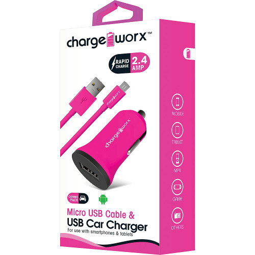 ChargeWorx Plug in usb car charger + cable micro-usb 2.4A pink
