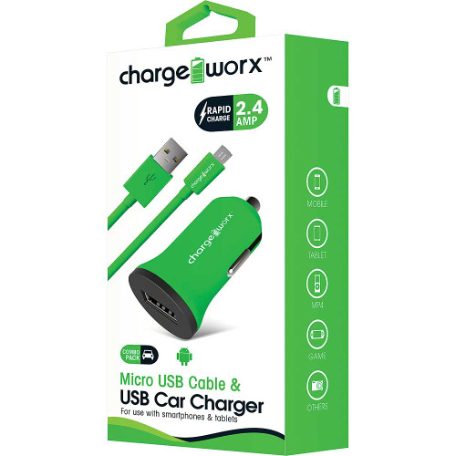 ChargeWorx Plug in usb car charger + cable micro-usb 2.4A green