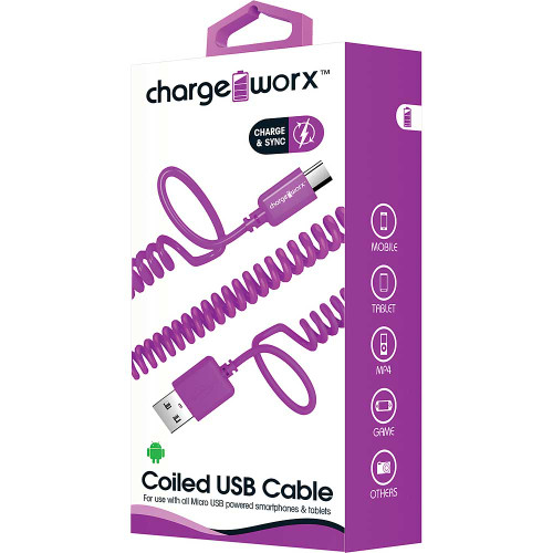 ChargeWorx iPhone usb coiled sync & charge cable lightning 1M/3FT violet