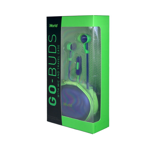 iWorld GoBuds with Mic and Travel Case Green